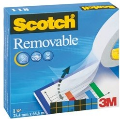 Plakband 3M Scotch 811 19mmx33m verwijderbaar